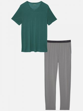 Plain Essentials - Pyjama - Grau-Bunt