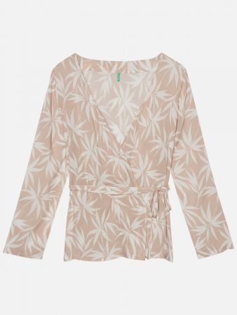 Palm Leaves - Cardigan - Beige-Weiß