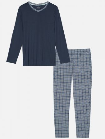 Noble Night Blue - Pyjamahose - Blau-Bunt
