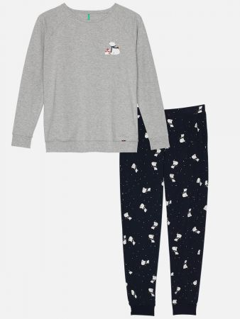 Winterly Moments - Pyjama - Dunkelblau-Bunt